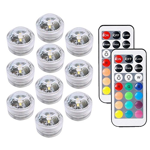 Aquarium light Andthere 10 PCS Waterproof Submersible Light Pond Pool Fish Tank light Remote Control Underwater Light Lamp Candle Light Hot Tub Light For Vase Base Bathtub Garden Wedding Birthday Festival Halloween Christmas Easter Thanksgiving Holiday Party Decoration Reviews