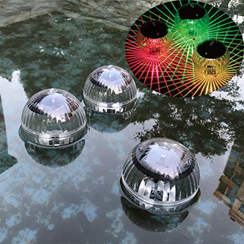 Solar Floating Pond Light, Waterproof LED Color Changing Solar Garden Pool Light Hanging Ball Light with ABS Plastic for Garden Yard Swimming Pool Fountain Fish Tank