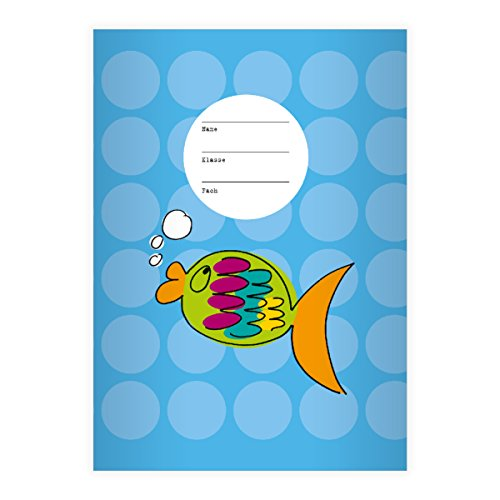 Nice Goldfish A4 Exercise Book, Rake Handle on Spots on Yellow Line Style 22 (Checked), light blue