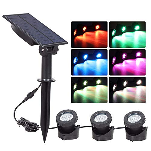 Solar Spotlights with 3 GRB Lamps 18 LEDs,Adjustable Waterproof Color Changing Garden Pool Pond Yard Landscape Underwater Landscape Lamp Lights for Garden Pool Pond Outdoor Decoration (Multicolored)