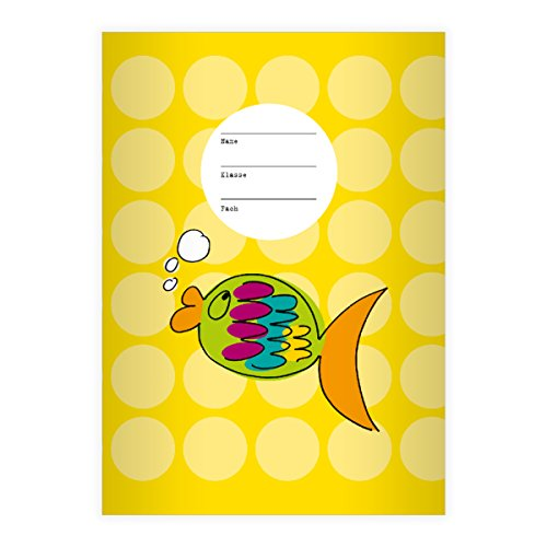 Nice Goldfish A4Exercise Book, Rake Handle on Spots on Yellow Line Style 28(Checked), yellow