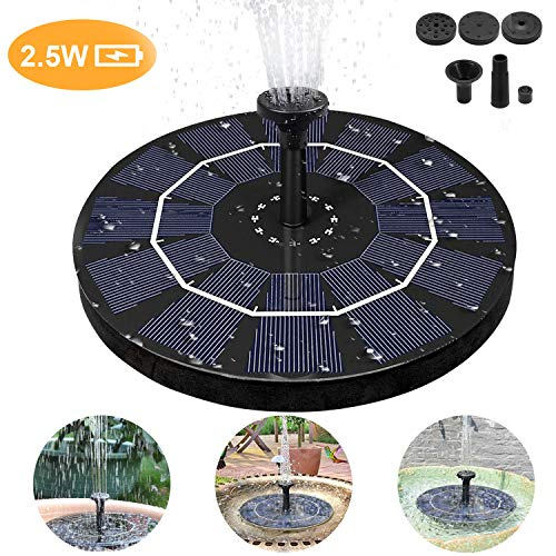 Philonext Solar Fountain, 2.5W Mini Solar Fountain Water Pond Pump, Bird Bath Fountain Pump Outdoor Watering Submersible Pump for Pond, Pool, Garden, Fish Tank, Aquarium