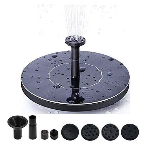 Kyerivs Birdbath Solar Fountain Pump,1.5W Circle Garden Solar Powered Water Pump Floating Fountain Pump for Birdbaths&Ponds,Solar Powered Water Fountains Submersible Pump Kit Garden Decorations