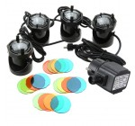 4 Set 12 LED Outdoor Underwater Garden Pool Pond Fountain Light Angle Adjustable Waterproof 220V 4.8W + 4 Color Lens Kit (EU Plug with UK Adapter)