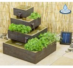 Square 4-Tier Solar Water Feature Cascading Herb Planter Dark Wood Reviews