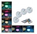 GRDE® Waterproof RGB Submersible LED Lights, Underwater Lighting for Pond Pool / Fish Tank / Aquarium / Fountain, Mood Light for Party Wedding Garden Bar Decoration (4 Lights + 2 IR Remotes)