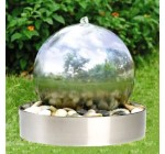 45cm Stainless Steel Sphere Garden Water Feature with Steel Base and LED Light Reviews