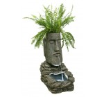 Easter Island Head Solar Water Feature and Planter with LED Lights