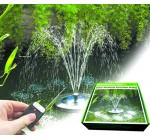 PondXpert SolarShower Float Solar Pond Pump with Battery, Remote Control and LED Lights. Attractive Solar Fountain floats on pond surface.