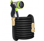 75 Ft Expandable Garden Water Hose Pip, VICKMALL Lightweight Flexible Triple Core Latex with Solid Brass Connectors, 8 Setting Soft Sprayer Gun Bonus with a Robust Hanger (75 Ft)