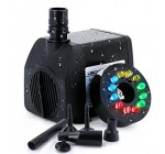 Submersible Fountain Water Pump 15W 800L/H Water Feature Pump with LED Colorful Light Adjustable Powerful Aquarium Circulation Submersible Waterfall Pool Pond Pump Fish Tank Outdoor