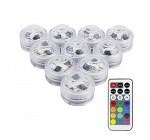 10 Pack Mini RGB Submersible LED Lights,LUXJET® Underwater Decor Lighting Color Changing for Aquarium, Pond, Fish Tank, Birdbath, IR Remote Control,Button battery powered(included) Reviews