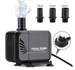 Wonyered Submersible Pump 2500L/H Quiet Fountain Water Pump with 5ft Power Cord &3 Nozzles for Fish Tank Aquarium Pond Statuary
