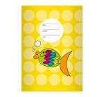 Nice Goldfish A4 Exercise Book, Rake Handle on Spots on Yellow Line Style 28 (Checked), yellow