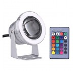 Underwater LED Spot Light, LED IP68 Waterproof Underwater Spot Light Pond Spotlight 10W 12V RGB Pond Aquarium Lamp with Remote Control for Marine Boat Yacht(Silvery White)